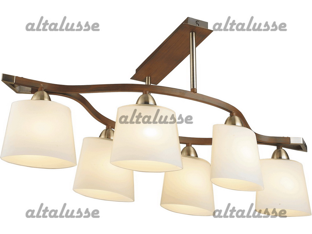 Люстра потолочная Altalusse INL-9207C-06 Antique brass & Walnut