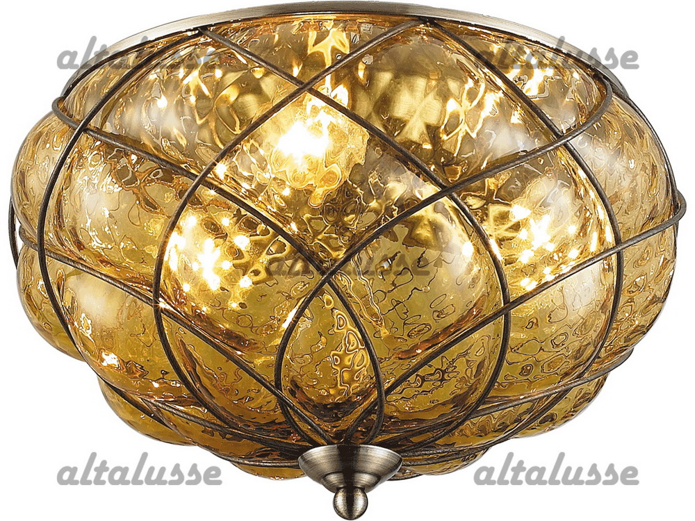 Люстра потолочная Altalusse INL-6085C-03 Antique brass & Tea glass