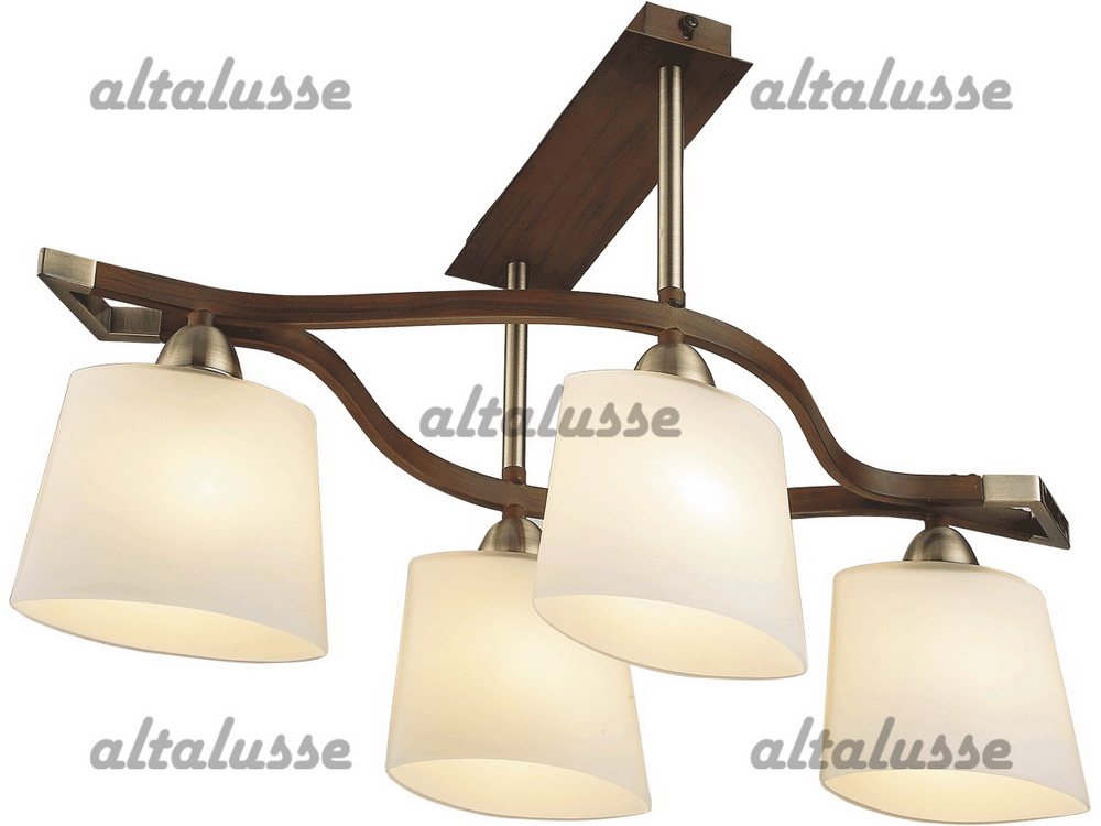 Люстра потолочная Altalusse INL-9207C-04 Antique brass & Walnut