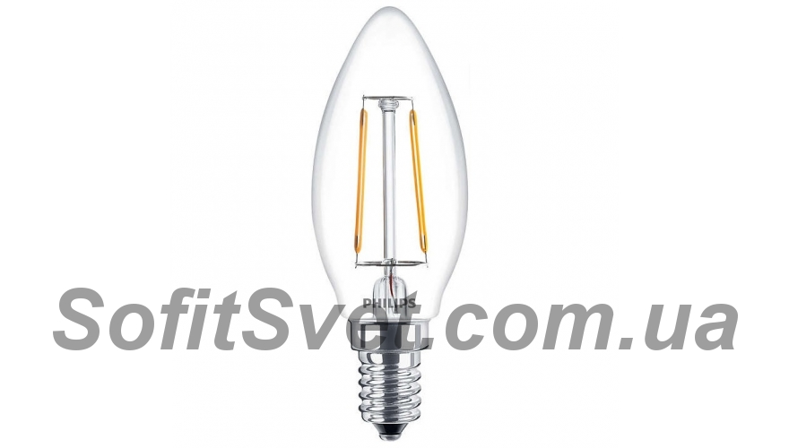 Лампа светодиодная C37 Philips LED Fila ND E14 2.3-25W 2700K 230V B35 1CT APR Филамент 929001180107