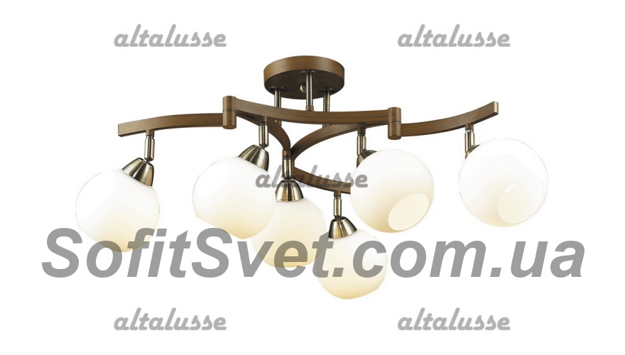 Люстра потолочная Altalusse INL-9257C-06 Antique brass & Walnut