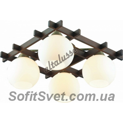 Люстра потолочная Altalusse INL-3089C-04 Antique brass & Walnut