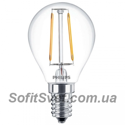 Лампа светодиодная G45 Philips LED Fila ND E14 2.3-25W, 2700K, 230V P45 1CT APR Filament Шар 929001180207